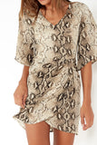 Pearline Snake Print Ruched Front Dress