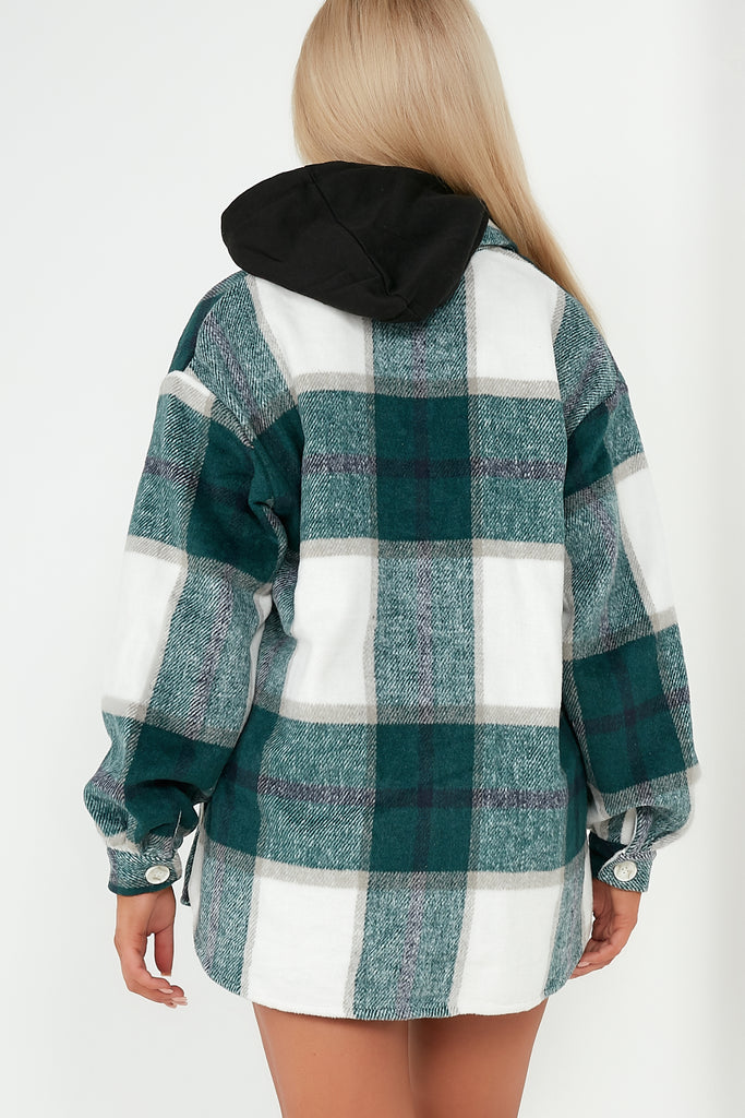 Peggie Green Check Oversized Shacket