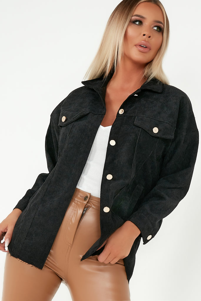 Peggy Black Corduroy Shacket
