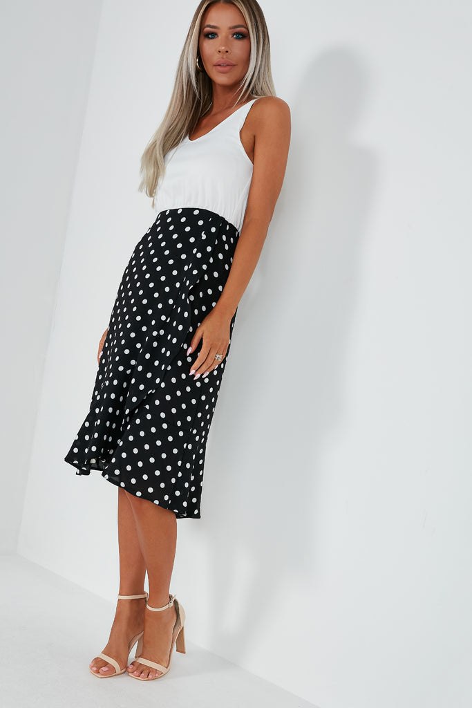 Pele Monochrome Polka Dot Frill Dress