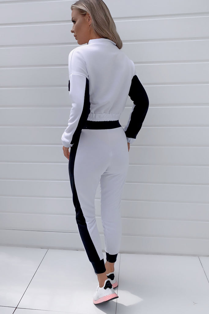 Perla White and Black Colour Block Jogger Co Ord