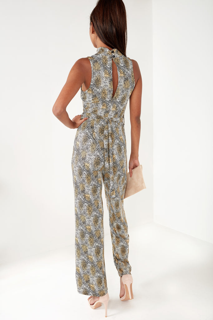 Perry Beige Animal Print Slinky Jumpsuit