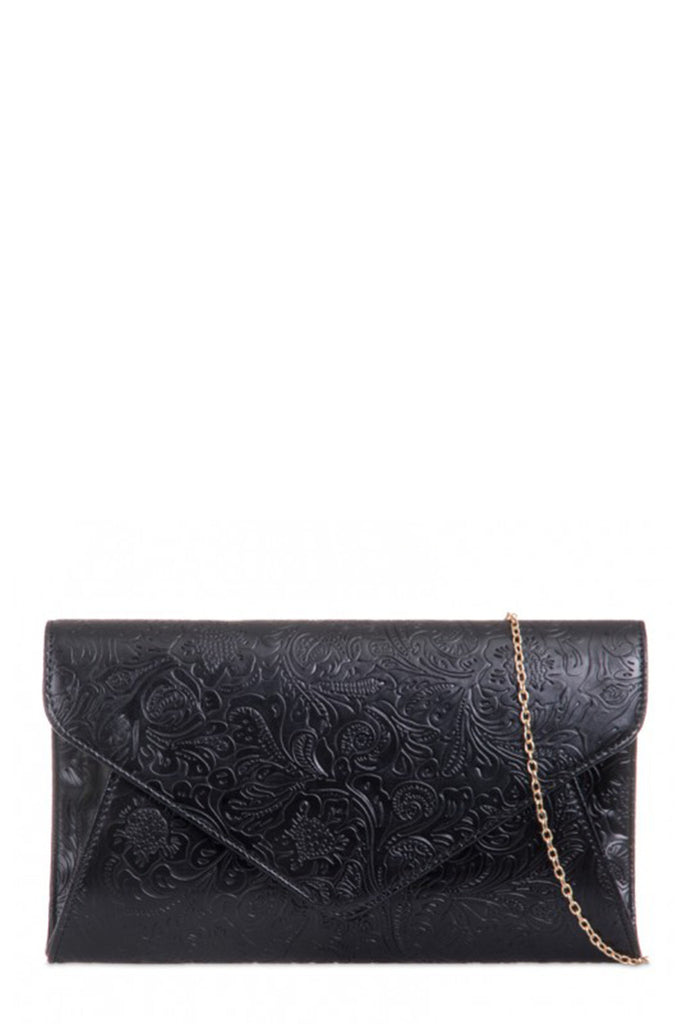Perth Black Floral Pattern Clutch Bag