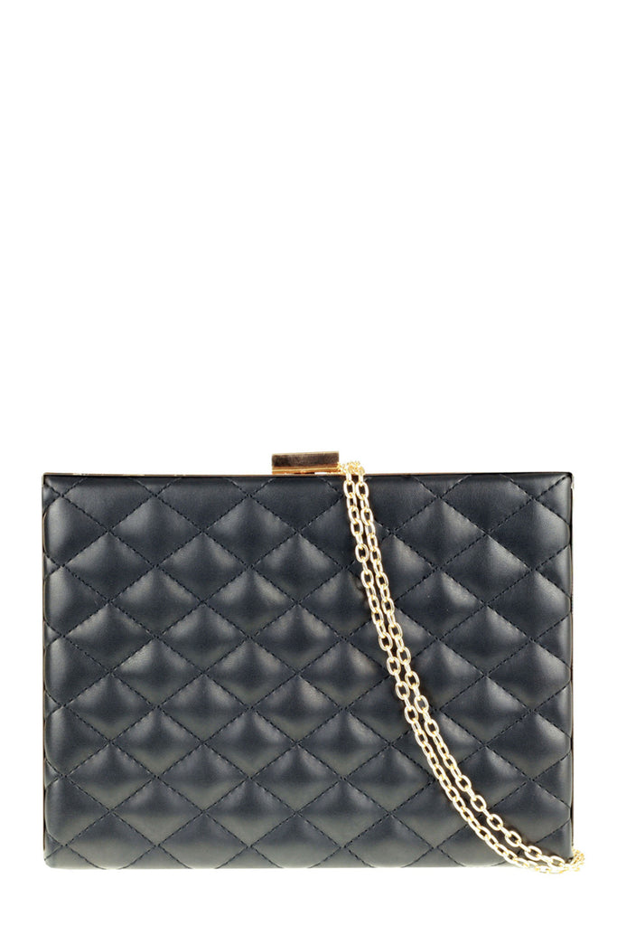 Petra Black Quilted Structured Box Clutch Bag
