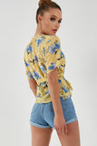Pheebs Yellow Floral Buckle Detail Wrap Top