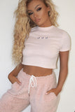 Pheobe Pink Ribbed Butterfly Crop Top