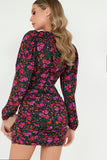 Phillipa Black Floral Long Sleeve Ruched Dress