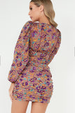 Phillipa Purple Floral Long Sleeve Ruched Dress