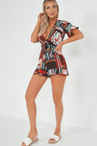 Pia Red Multi Print Plunge Playsuit