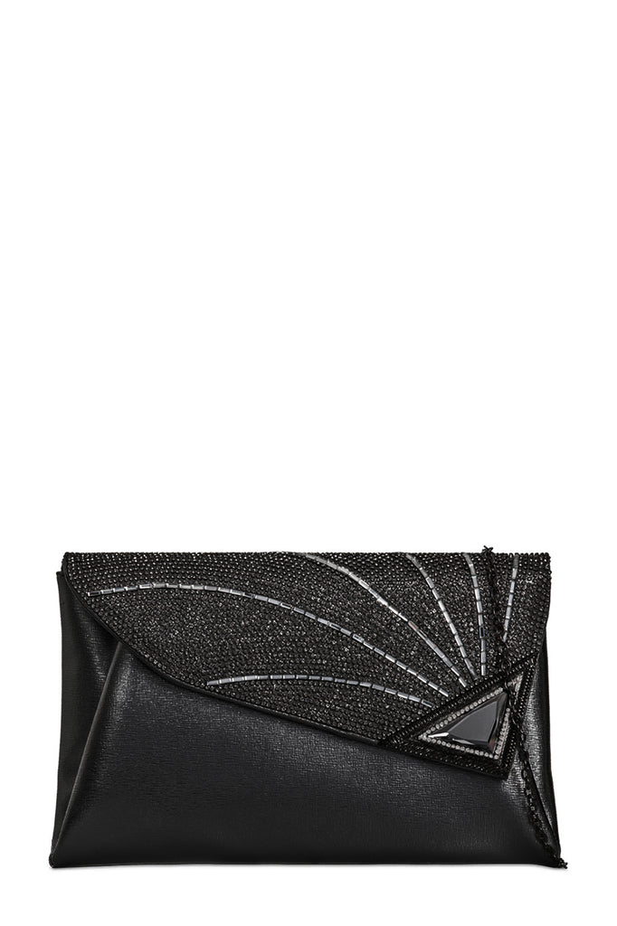 Pita Black Diamante Clutch Bag