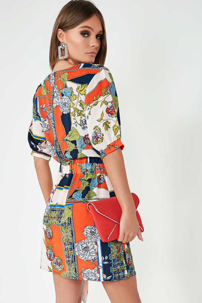 Pixie Orange Printed Tie Belt Dress