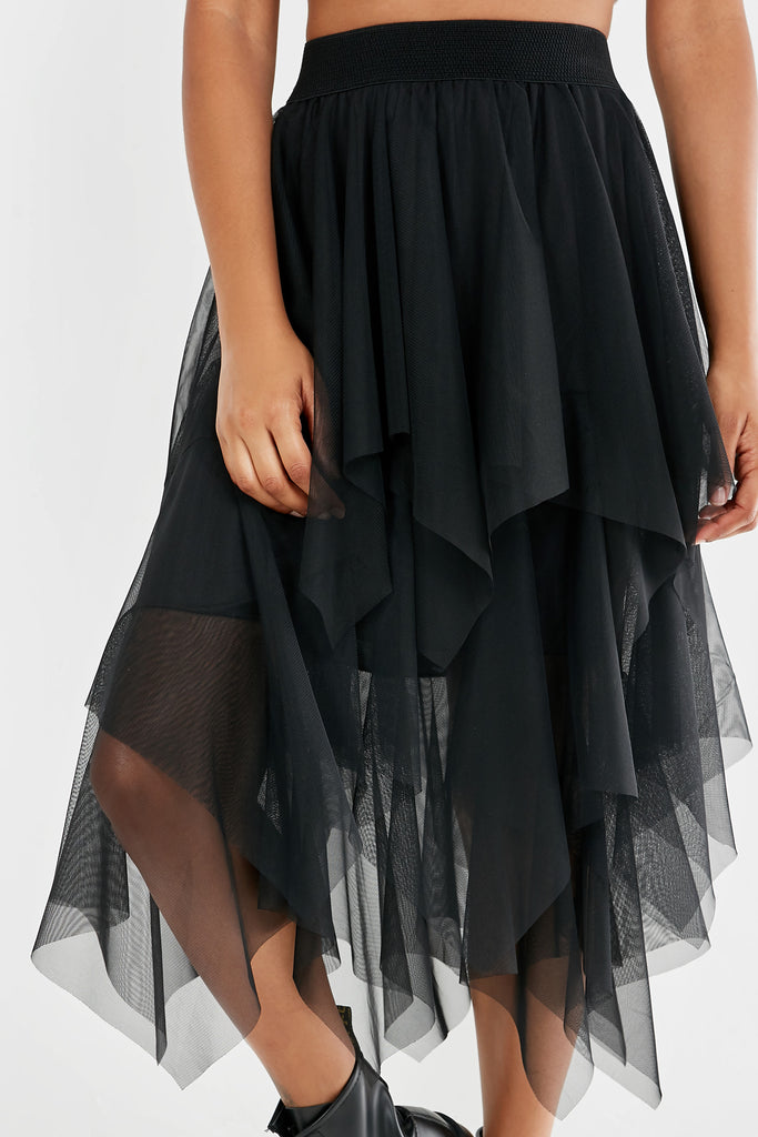 Pricilla Black Mesh Frill Midi Skirt