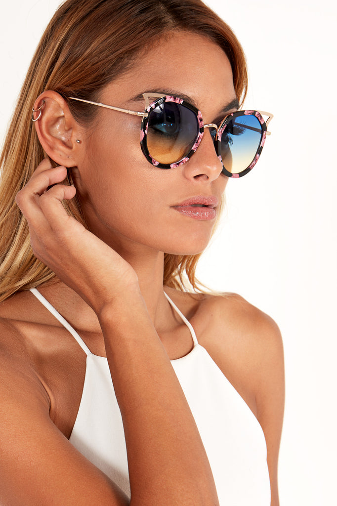 Printed Cut Out Cat Eye Sunglasses