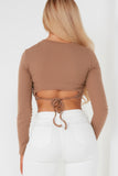 Priscilla Camel Ribbed Tie Back Crop Top