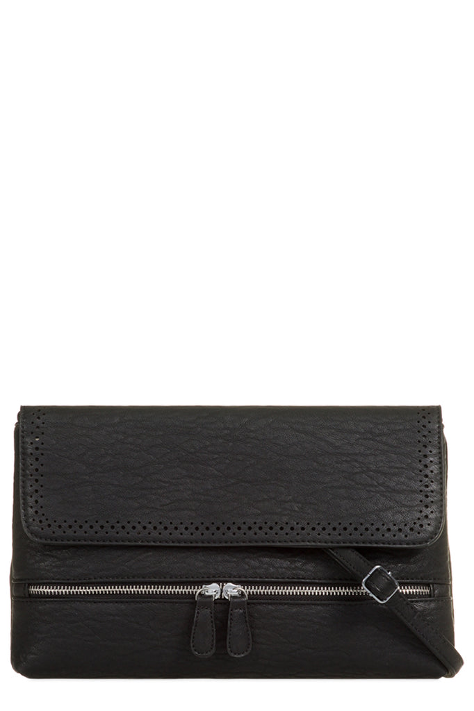 Priya Black Leatherette Folded Clutch Bag (9563726224)