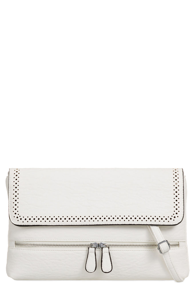 Priya White Leatherette Folded Clutch Bag (9563731600)