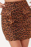 Prudence Brown Leopard Suedette Skirt