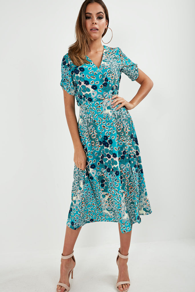 Queeva Blue Daisy Print Midi Dress