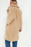 Quelina Camel Oversized Teddy Coat