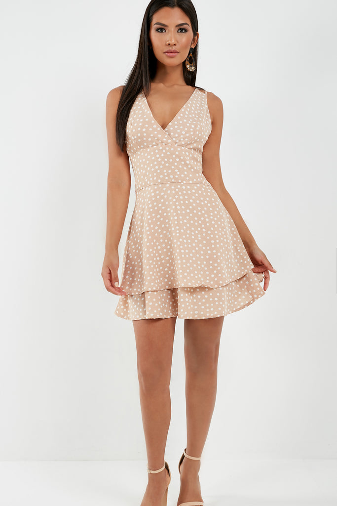 Quells Stone Polka Dot Tiered Dress