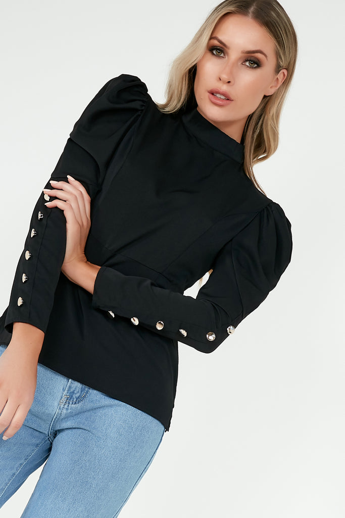 Quenby Black High Neck Button Cuff Top