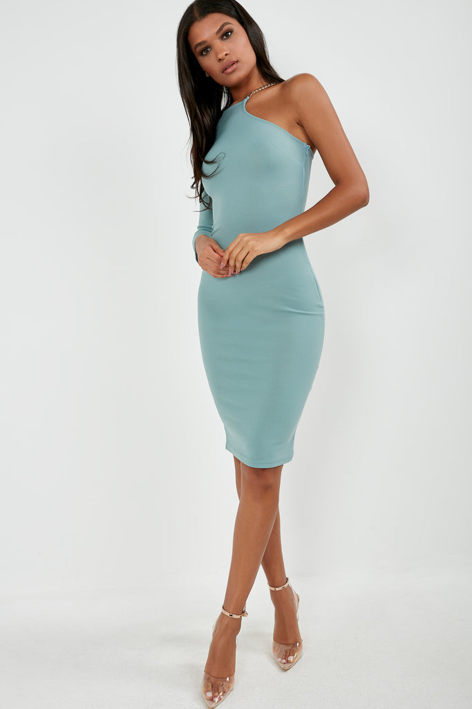 Quenby Duck Egg One Sleeve Midi Dress