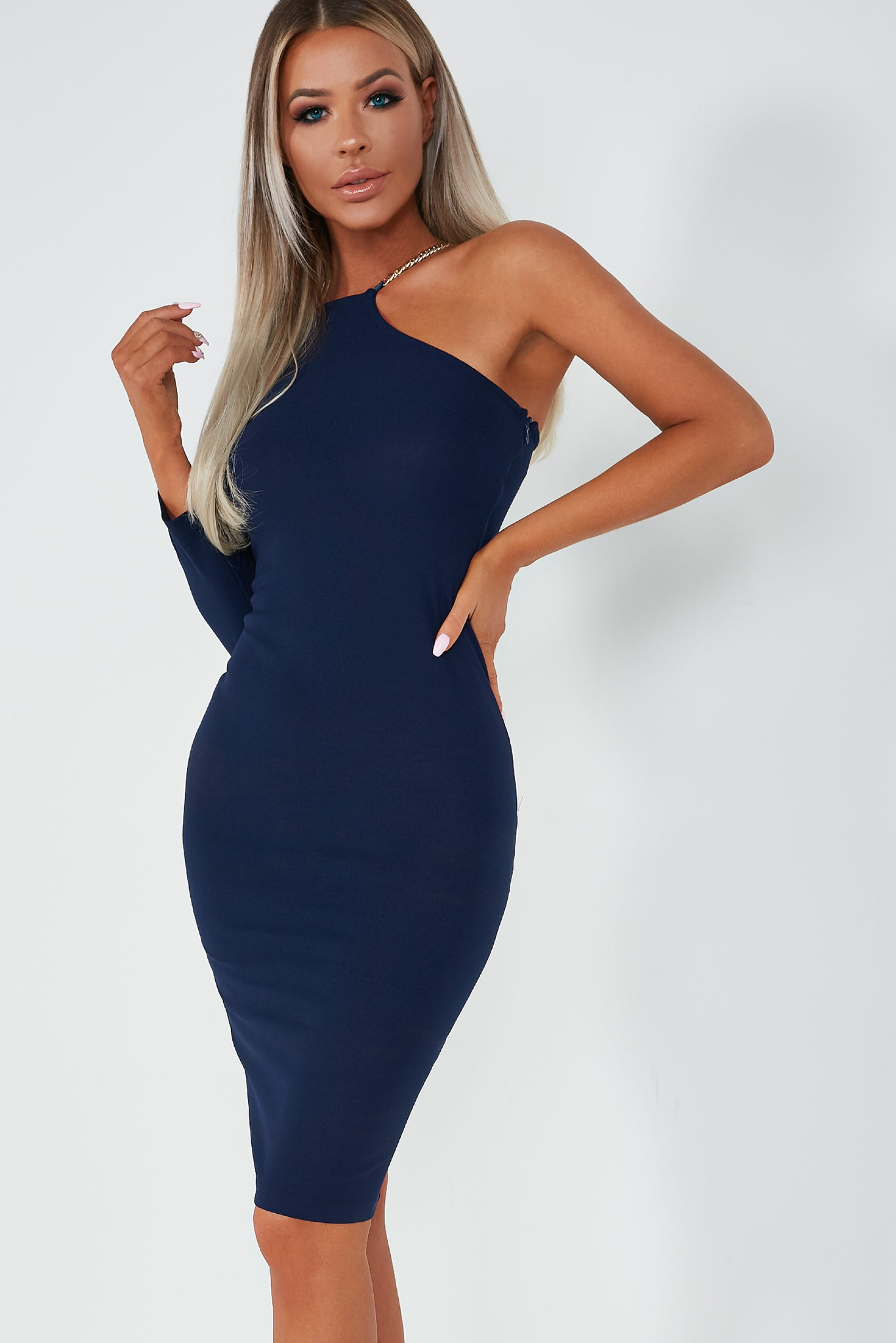 Quenby Navy One Sleeve Midi Dress. €29.99. Previous d51eb575857b