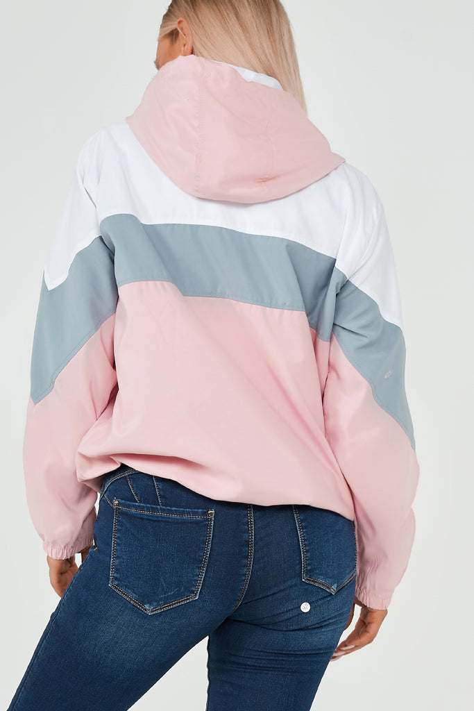 Questa Pink Contrast Colour Windbreaker
