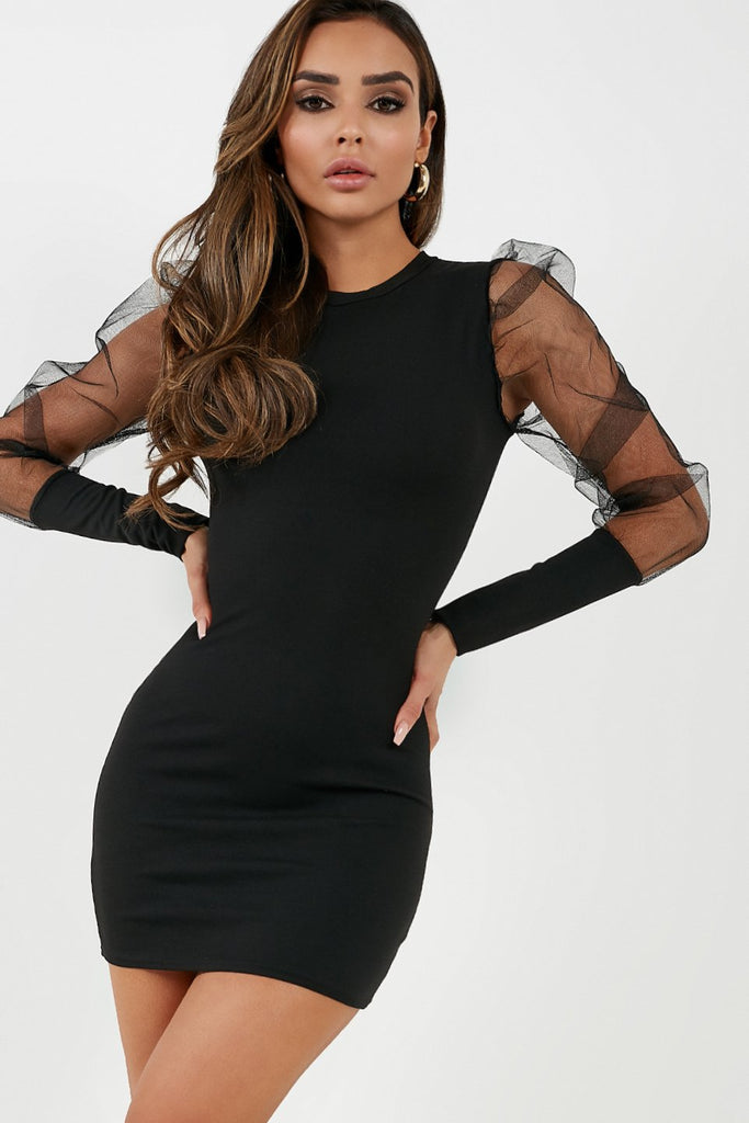 Quinlee Black Tulle Puff Sleeve Dress (4308966277186)