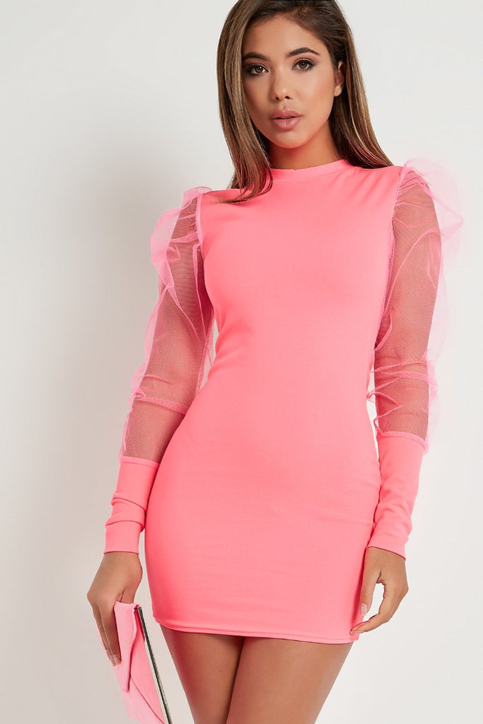 Quinlee Neon Pink Tulle Puff Sleeve Dress