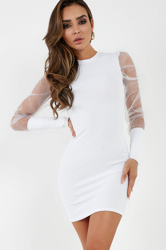 Quinlee White Tulle Puff Sleeve Dress (4308972109890)