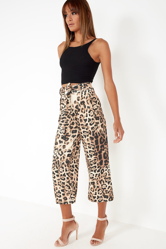 Quinsey Leopard Print Crop Trousers