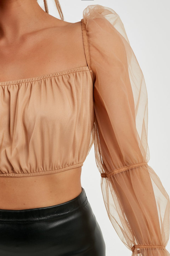 Quinter Nude Organza Sleeve Crop Top (4185360040002)