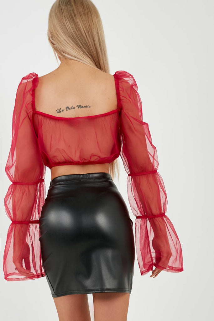 Quinter Raspberry Organza Sleeve Crop Top (4185354862658)
