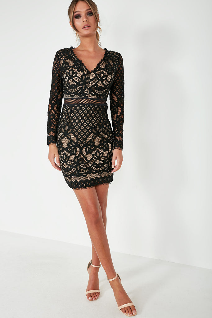 Quirita Black and Nude Lace Dress