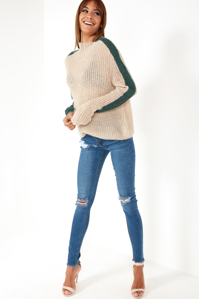 Quisha Beige Side Stripe Knit Jumper