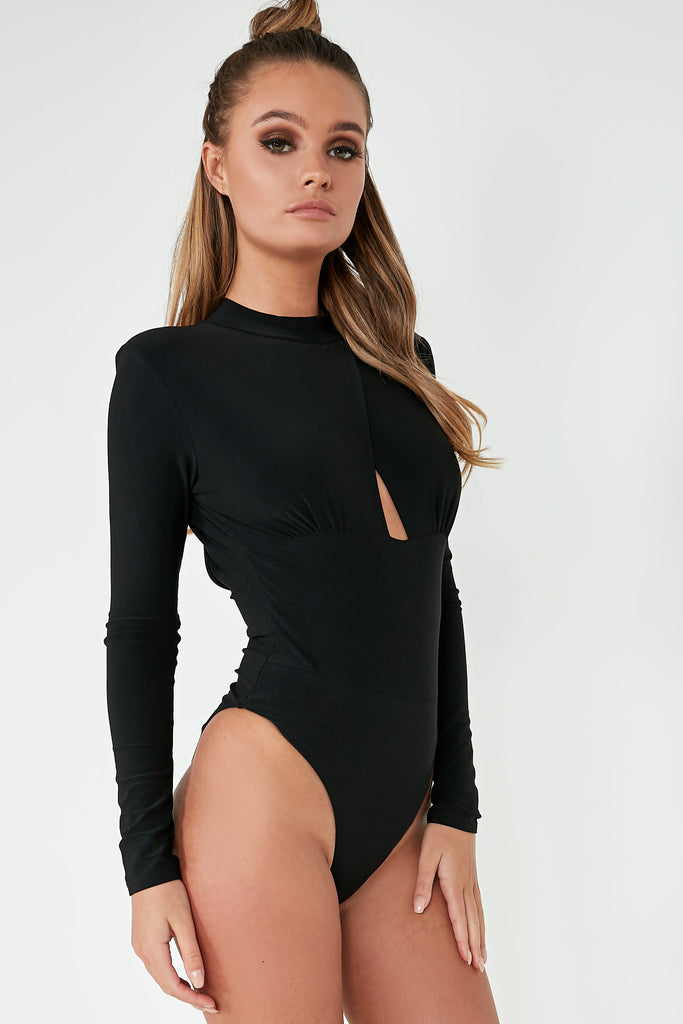 Rae Black High Neck Slinky Bodysuit