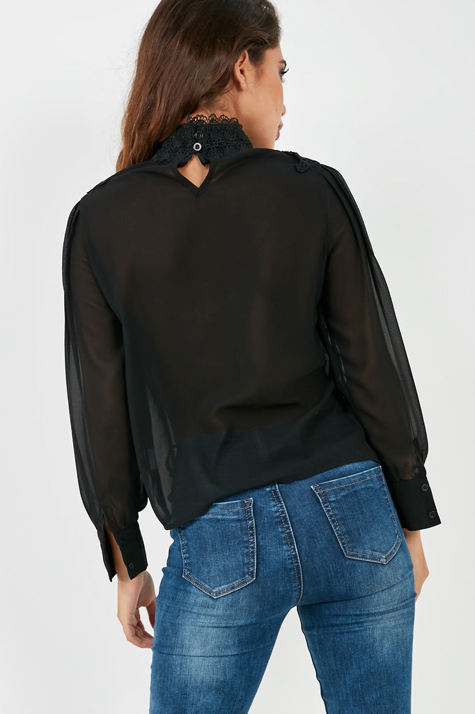 Ramona Black Chiffon High Neck Blouse