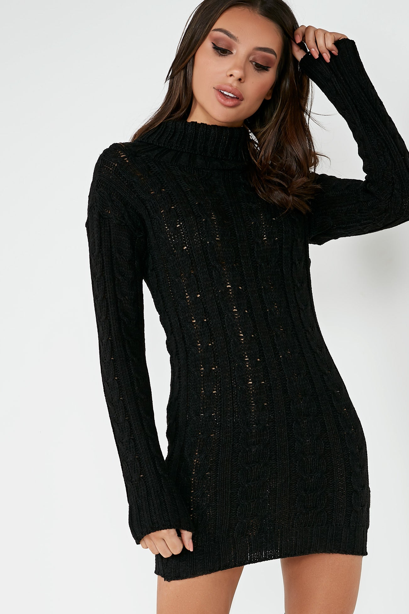 classic shoes diversified latest designs select for latest Raquel Black Cable Knit Jumper Dress