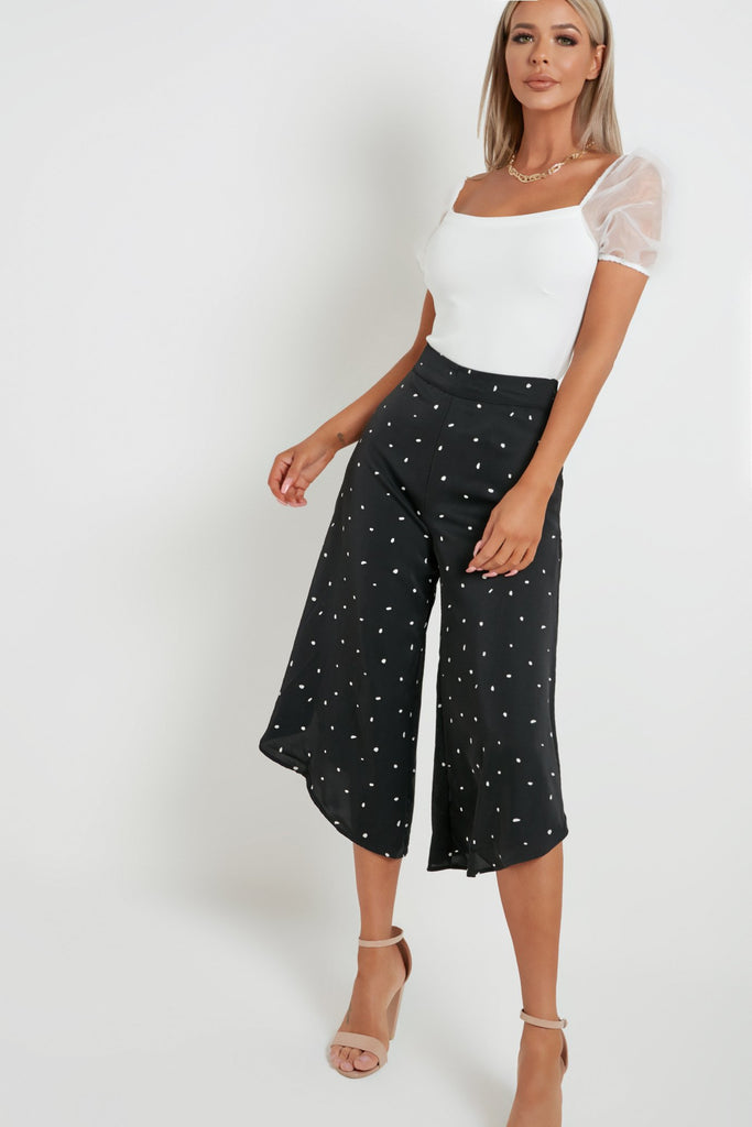 Raquel Black Polka Dot Culotte Trousers