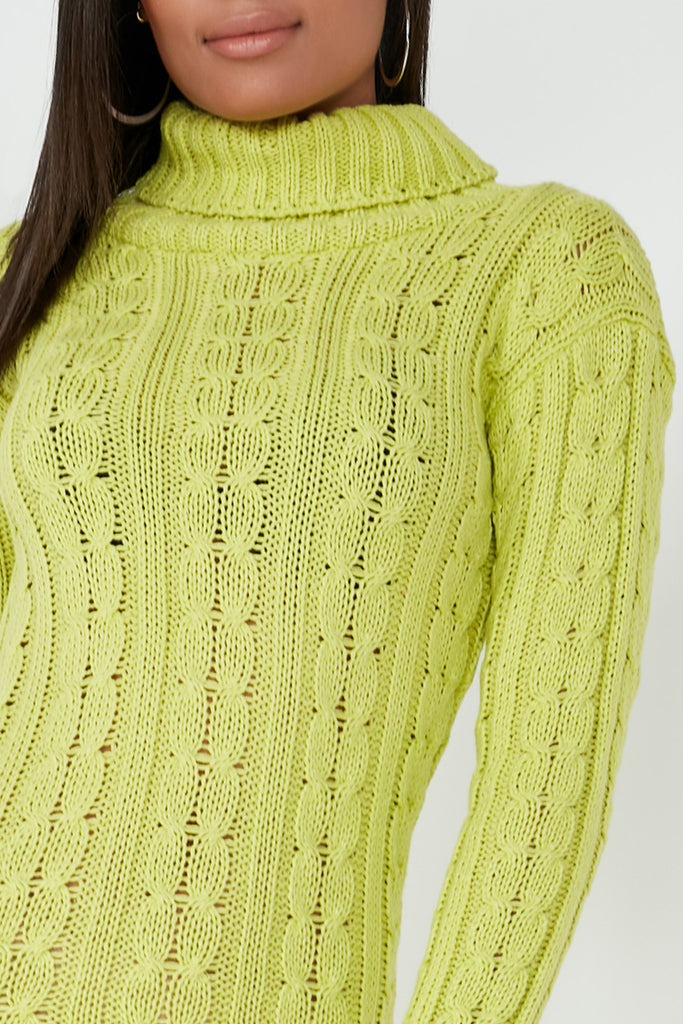 Raquel Lime Cable Knit Jumper Dress