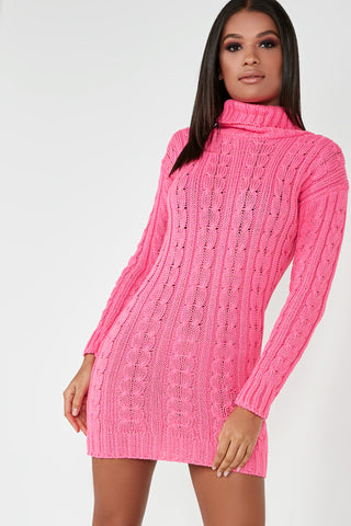 e8cbeb433a0 Raquel Neon Pink Cable Knit Jumper Dress