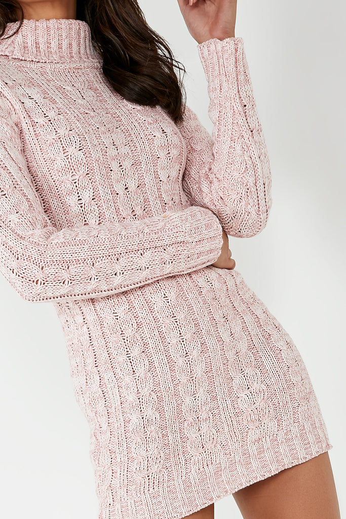 Raquel Pink Cable Knit Jumper Dress