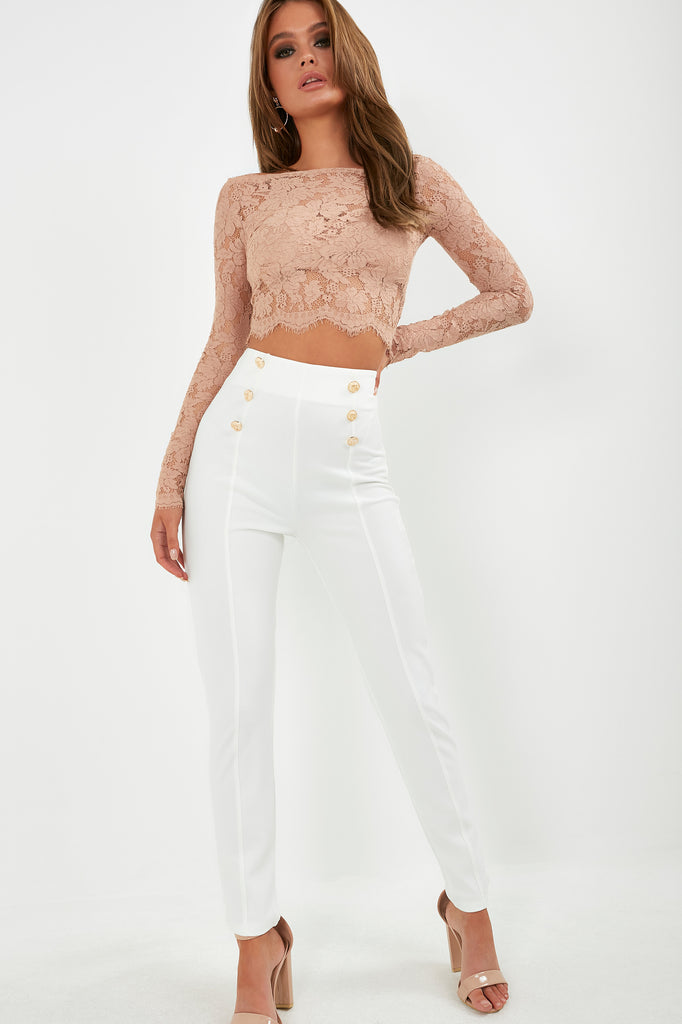 Raven Cream Button Front Slim Leg Trousers