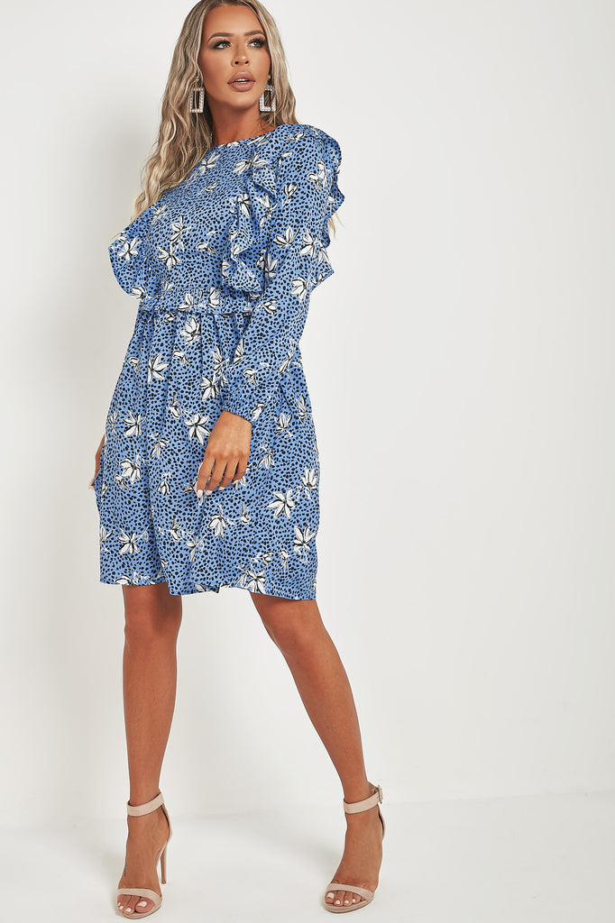 Reece Blue Floral Frill Front Dress