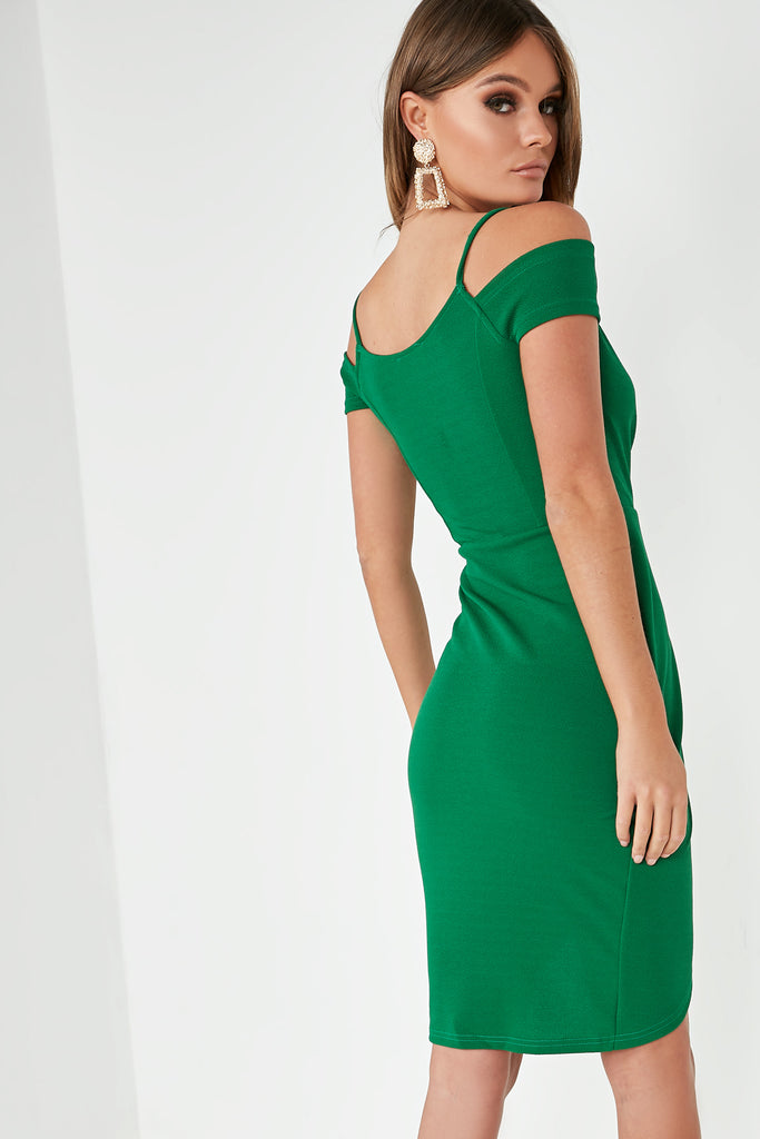 Reese Green Cold Shoulder Wrap Dress