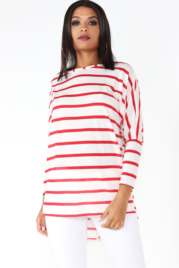 Regina Red Striped Over Sized Top