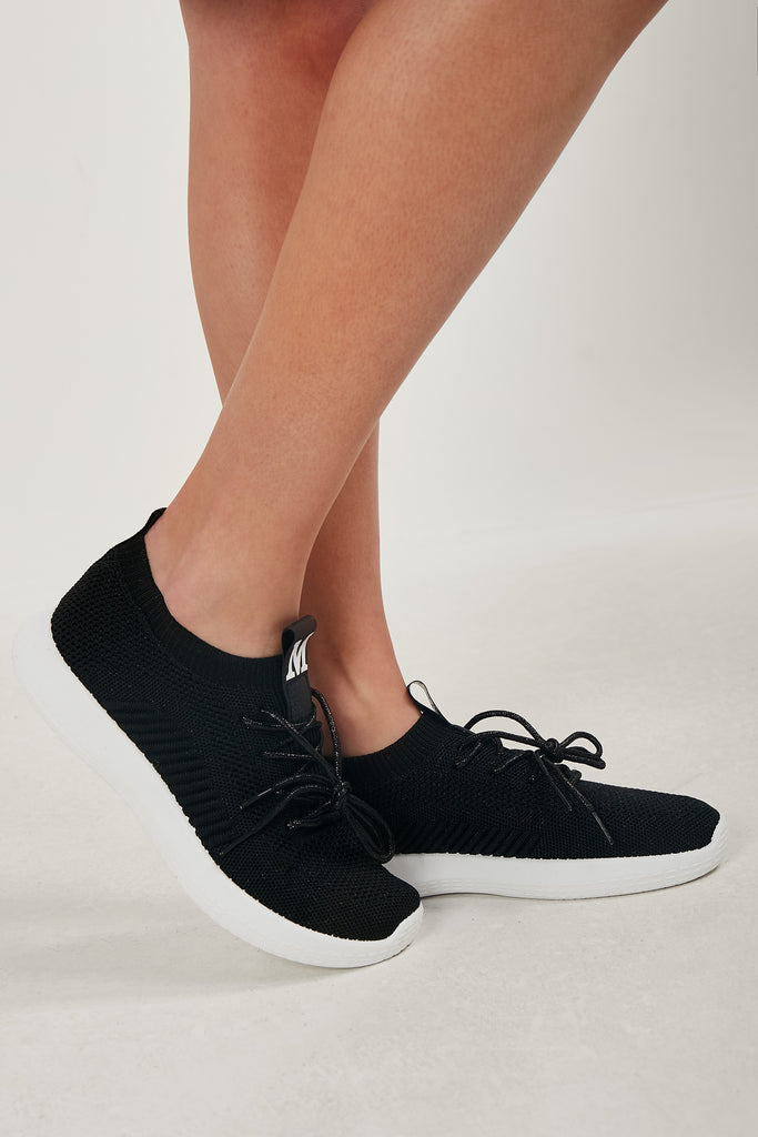 Remelda Black Fabric Lace Up Trainer