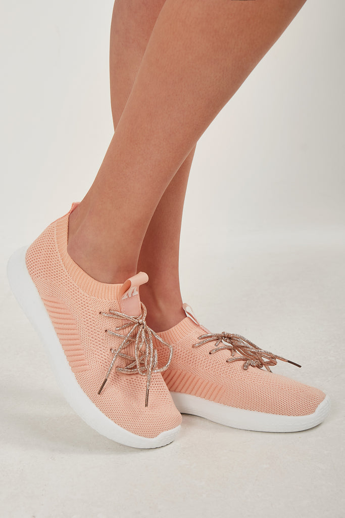 Remelda Peach Fabric Lace Up Trainer