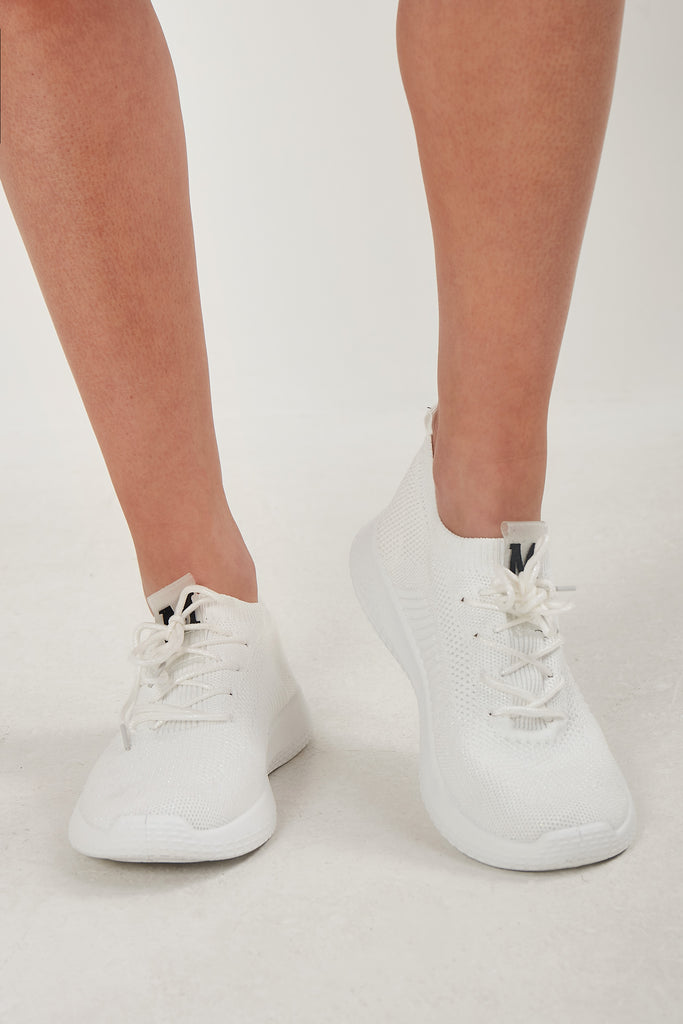 Remelda White Fabric Lace Up Trainer